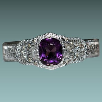Art Deco Purple Amethyst Glass Paste Rhodium Plate Filigree Bangle Bracelet