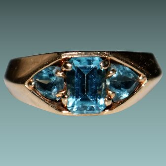 Estate Vintage 10k Yellow Gold Blue Topaz Ring, Size 4.25 - 3.3 Grams