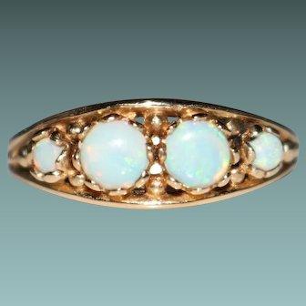 Vintage 14k Yellow Gold White OPAL Band Ring, Size 7.75, 3.3 Grams