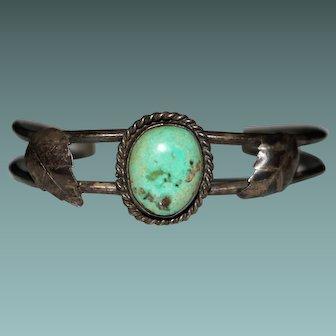 Vintage Navajo Indian Turquoise Cuff Bracelet - 1970's