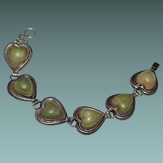 Vintage Pre Eagle Mexican Jade Carved Heart Link Bracelet - Sterling - Taxco