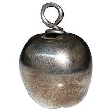 Vintage Mexican Sterling Silver 3-D Apple Pendant - Eagle Hallmark 7