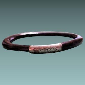 Antique Victorian Sterling Silver Monogram Black Coral Bangle Bracelet