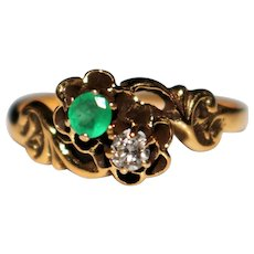 Vintage Victorian Revival 14k Gold Emerald & Diamond Buttercup Ring, Size 8