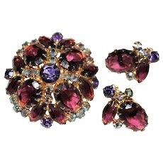 Vintage D&E Juliana Shades of Purple Rhinestone Brooch & Earrings Set