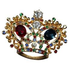 Vintage Multi Colored Rhinestone Crown Brooch - Regal - Royal