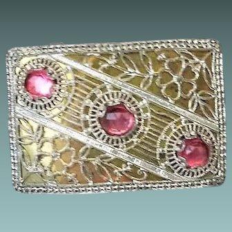 Art Deco Silver Filigree Pink Czech Glass Flower Belt Buckle