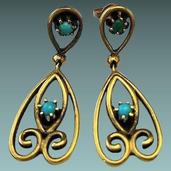 Vintage 14k Yellow Gold Nouveau Style Turquoise Dangle Drop Earrings, 5.2 Grams