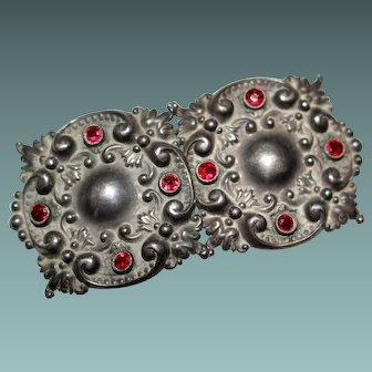 Antique Art Nouveau Sterling Silver Repousse Ruby Paste Buckle
