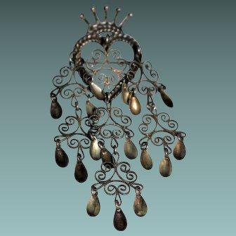 Vintage Sterling Silver Crown Heart SOLJE Brooch - Wedding Brooch