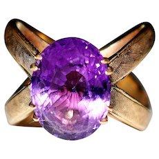 Vintage Estate 18k Yellow Gold Custom Made Deep Purple Amethyst Statement Ring