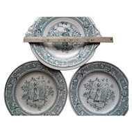 Old Doll Children's Kate Greenaway Hall Mother Hubbard Cake Plate Set (3)