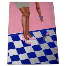 A+ Bloomingdale's Store Woman's Pink Rose & Shoe Jewelry Op Art Painting Advertising