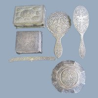 Antique Greek Double Headed Eagle Silver Mirror Dresser Set