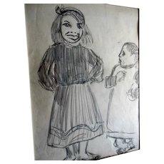 Marjorie Organ Cartoonist New York Journal Original Art Drawing