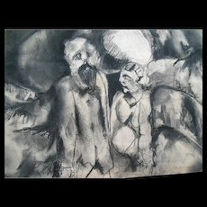 "Original 24"" Modern Art Drawing Rouault Lovis Picasso Influence"