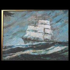 Gloucester Mass 3 Mast Sail Schooner Seascape Painting