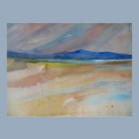 Impressionistic Sunset Seascape Landscape Painting sgnd R Sesen & Japanese Seal