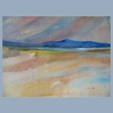 Impressionistic Sunset Seascape Landscape Painting sgnd R Sesen & Japanese Seal