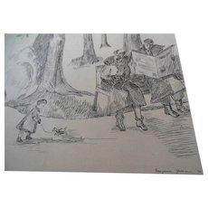 1936 Illustration Original Art Drawing Marjorie Green Vinson Child Boston Garden