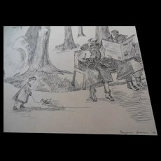 1936 Illustration Original Art Drawing Marjorie Green Vinson Child Boston Garden