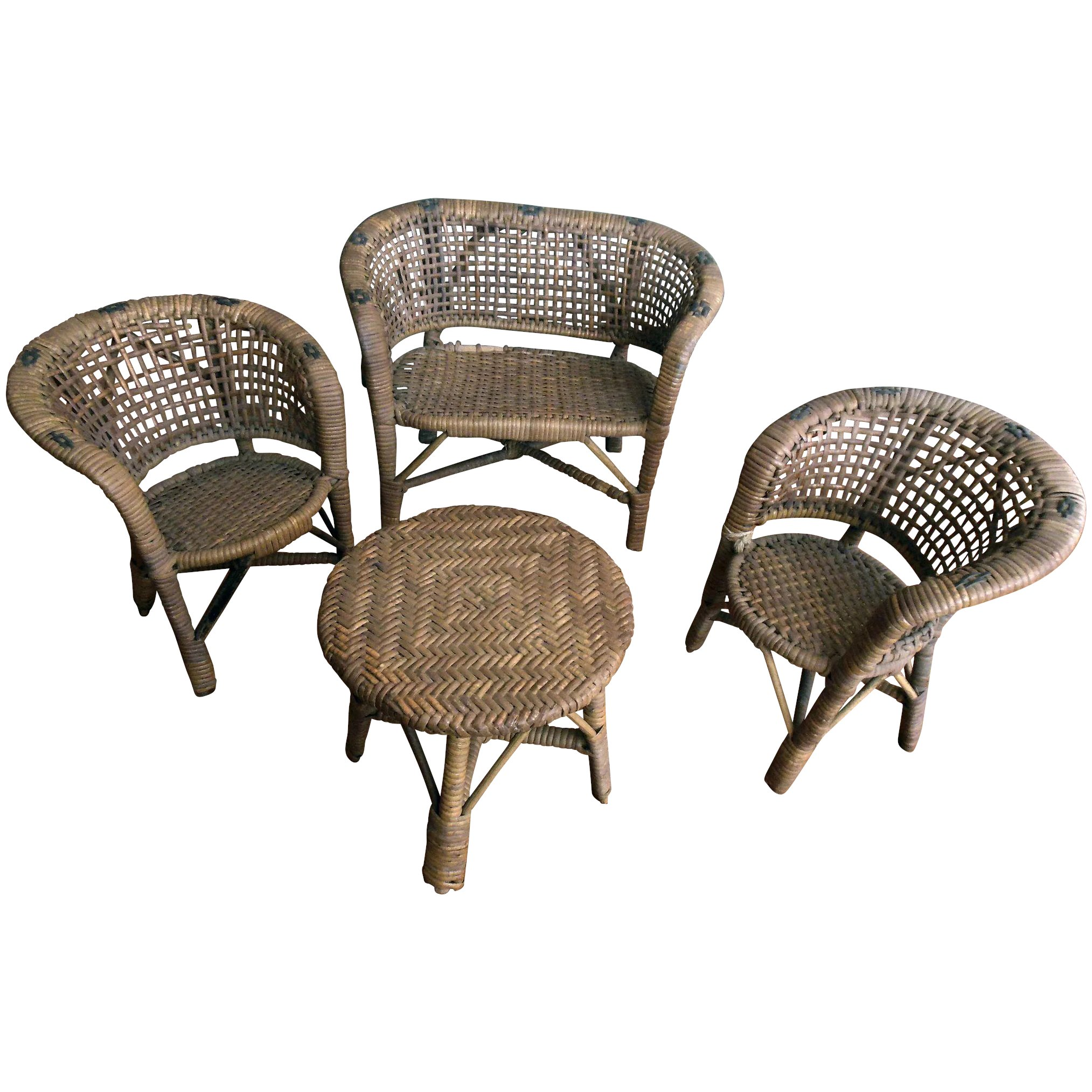 Vintage Painted Wicker Doll Furniture 4 Pc Large Set