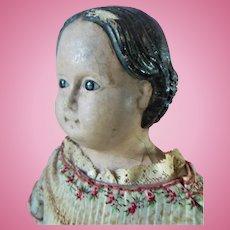 "Antique Greiner Style Glass Eyed Papier Mache 24"" Doll Calico Dress All Original 1860s"
