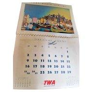 1949 Rex Werner TWA New York San Francisco Mid Modern Century Travel Calendar