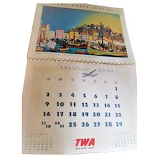 1949 Rex Werner TWA New York San Francisco Mid Modern Century Travel Calendar