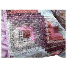 Antique 1860s Civil War Era Calico Bedspread Coverlet Quilt