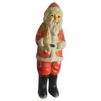 Vintage Bisque Santa Clause Doll Christmas Figure with Sack of Toys