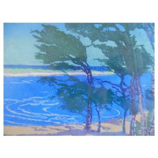 Margaret Jordan Patterson Color Woodblock Windblown Trees Cape Cod Print