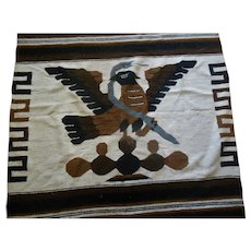 Vintage  Native American Motif Eagle Snake Woven Area Rug