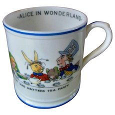 Vintage English Alice in Wonderland Mad Hatter Dodo Bird Tea Party Mug Cup