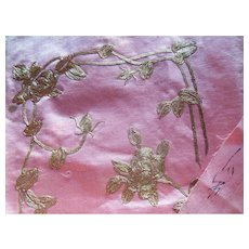 Chinese Textiles Gold Thread Pink Silk signed (2)