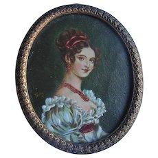 Antique Miniature Oil Painting Portrait on Copper Dollhouse Size signed