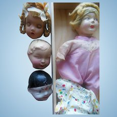 1920s Famlee Composition Clown Little Girl Doll in Original Box