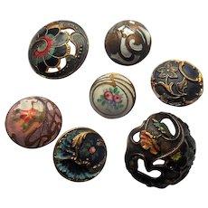 Antique Enamel Cloisonne Sewing Button Lot (7)