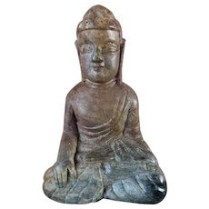 Antique Chinese Carved Soapstone Buddha Statue