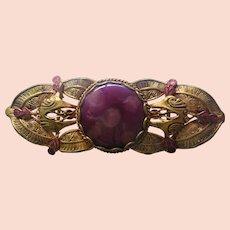 Exceptional Antique Edwardian Art Nouveau Enamel Gold Buckle Dress Clip