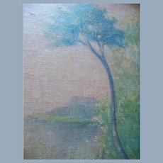 Antique J.H. McDonough Impressionistic Arts and Crafts Landscape Oil Painting