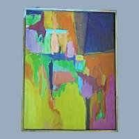 Vintage Abstract Modern Art Painting Brookline MA. Art Society