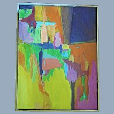 Vintage Abstract Modern Art Painting Brookline MA. Art Society
