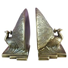 Vintage Brass Peacock Bookends exceptional detail