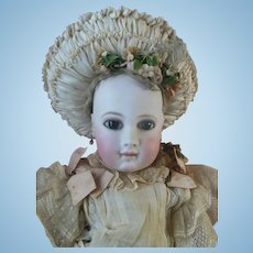 """Early 22"""" French Portrait Jumeau Wood Body Skin Wig Almond Brown Eyes Museum Quality original clothes"""