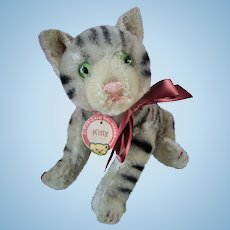 """Steiff 12"""" Kitty Tabby Cat Jointed with Ribbon Paper Tag Vintage 1940s"""