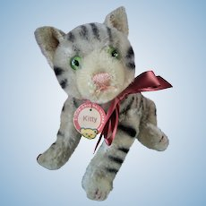 "Steiff 12"" Kitty Tabby Cat Jointed with Ribbon Paper Tag Vintage 1940s"
