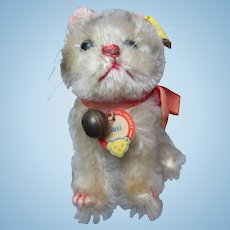 """Vintage 1960's Steiff """"Susi"""" Cat Swivel Head Chest Tag Ribbon Bell &  Button like new condition"""