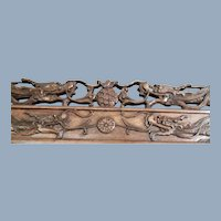 Antique Chinese Dragon Temple Furniture Architectural Wood Carving > 6' Long