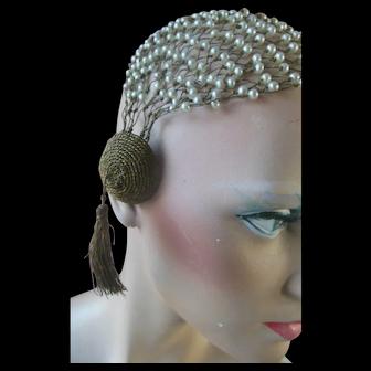 Antique Hat Art Deco Flapper Pearl & Gold Tassel Hair Jewelry Hair Net Hat